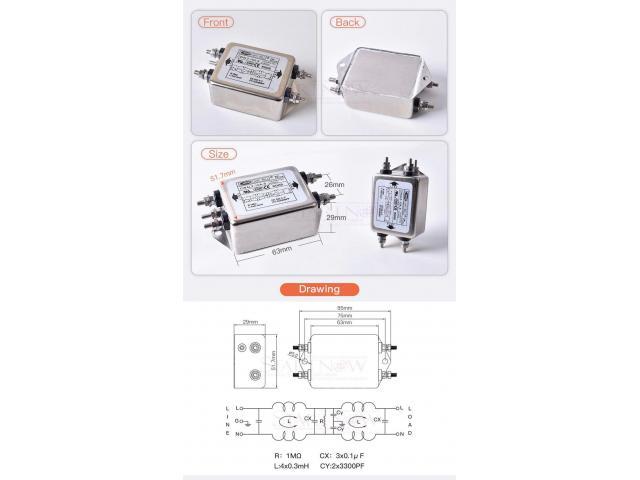 Filtro de Energia Anti Ruído e Interferência Elétrico EMI Monofásico 10a 115 v 250 v cw4l2 50/60 hz - 2/6