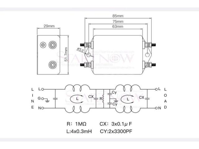 Filtro de Energia Anti Ruído e Interferência Elétrico EMI Monofásico 10a 115 v 250 v cw4l2 50/60 hz - 3/6