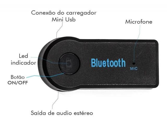 Adaptador P2 Receptor Bluetooth Música Chamada Som Carro - 2/3