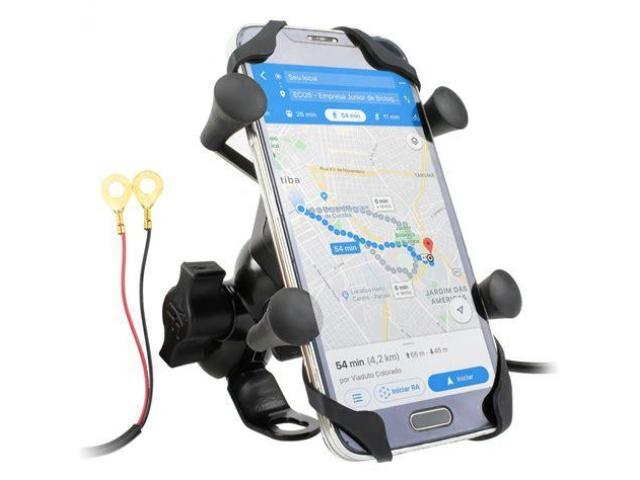 Suporte para Celular Moto com USB Carregador Universal - 1/6