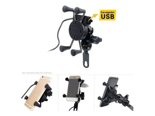 Suporte para Celular Moto com USB Carregador Universal - 2/6