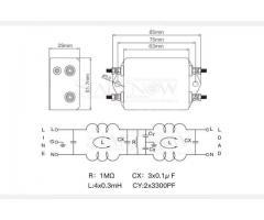 Filtro de Energia Anti Ruído e Interferência Elétrico EMI Monofásico 10a 115 v 250 v cw4l2 50/60 hz - Imagem 4/6