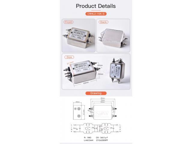 Filtro de Energia Anti Ruído e Interferência Elétrico EMI Monofásico 10a 115 v 250 v cw4l2 50/60 hz - 5/6