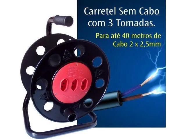 Extensão Carretel com 3 Tomadas Vazio Suporta até 40 metros - 4/6