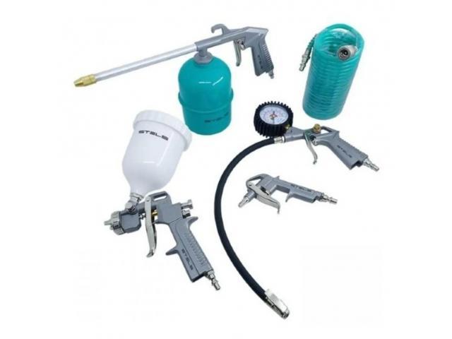 Kit Pintura Pistola Tanque Alto para Compressor com 5 Peças - 1/2