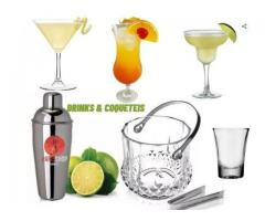 Kit Drinks & Coquetel - Coqueteleira + Balde +3 Taças Martini Drinks kit 7 pças