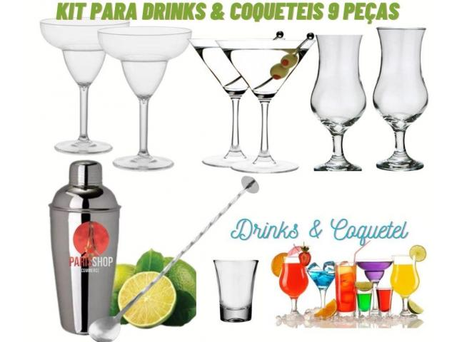 Kit Coquetel  & Drinks- Coqueteleira  +6 Taças Martini Drinks kit 9 pças - 1/6