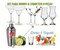 Kit Coquetel  & Drinks- Coqueteleira  +6 Taças Martini Drinks kit 9 pças