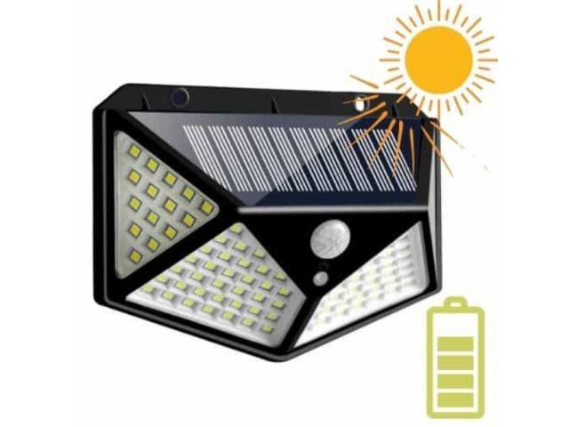 Luminária Solar 100 Leds Com Sensor Presença Sem Fio à Uso Interno  &  Externa 3 Modos - 1/6