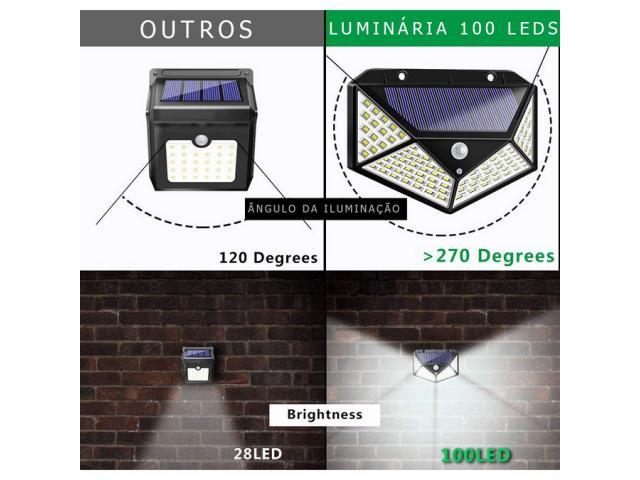 Luminária Solar 100 Leds Com Sensor Presença Sem Fio à Uso Interno  &  Externa 3 Modos - 3/6