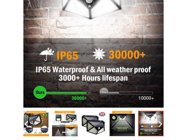 Luminária Solar 100 Leds Com Sensor Presença Sem Fio à Uso Interno  &  Externa 3 Modos - 4/6