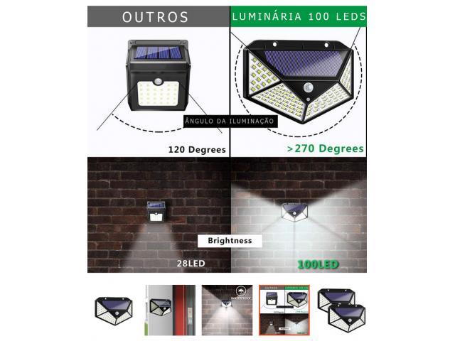 Luminária Solar 100 Leds Com Sensor Presença Sem Fio à Uso Interno  &  Externa 3 Modos - 5/6