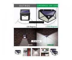 Luminária Solar 100 Leds Com Sensor Presença Sem Fio à Uso Interno  &  Externa 3 Modos - Imagem 5/6