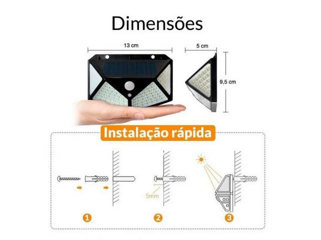 Luminária Solar 100 Leds Com Sensor Presença Sem Fio à Uso Interno  &  Externa 3 Modos - 6/6