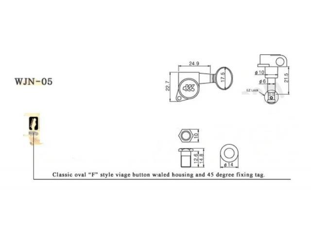 Jogo Tarraxa Tarracha Wilkinson Wjn-05cr Em Linha 6r Machine Heads Telecaster Stratocaster - 2/6
