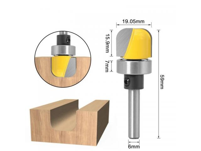 Fresa Dupla Rebaixo e Refilamento Com Rolamento Haste 6mm - 1/2