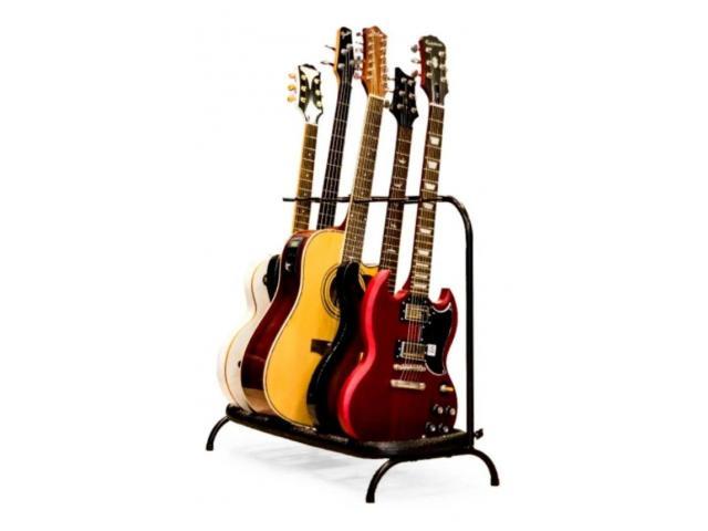 Suporte de Chão Estante para 5 Instrumentos - Violão, Contrabaixo, Guitarra - 1/3