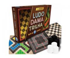 Jogo de Tabuleiro 3 Jogos Ludo Dama e Trilha