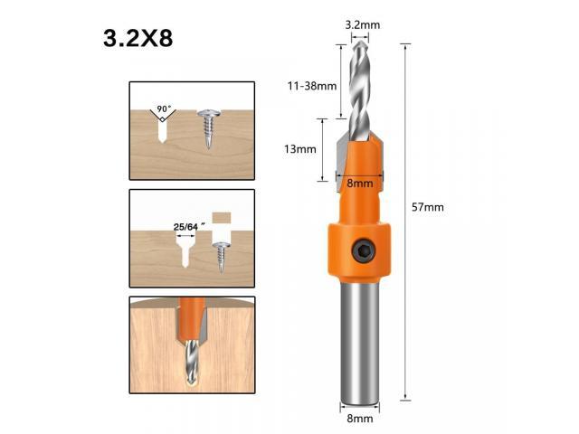 Broca Escareadora Cabeça 8mm Medidas 2.8 -3.0/3.2 mm - 1 Unidade - 3/6
