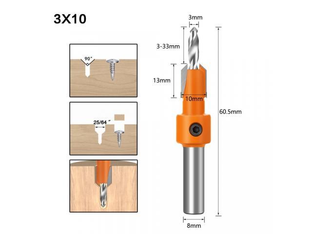Broca Escareadora Cabeça 8mm Medidas 2.8 -3.0/3.2 mm - 1 Unidade - 4/6