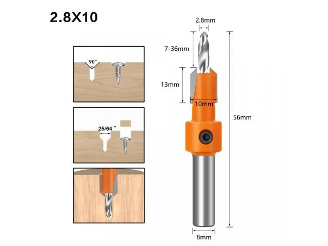 Broca Escareadora Cabeça 8mm Medidas 2.8 -3.0/3.2 mm - 1 Unidade - 5/6