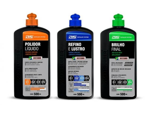 Kit Polimento de Pintura - Polidor + Refino e Lustro + Brilho Final - 1/5