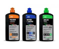 Kit Polimento de Pintura - Polidor + Refino e Lustro + Brilho Final
