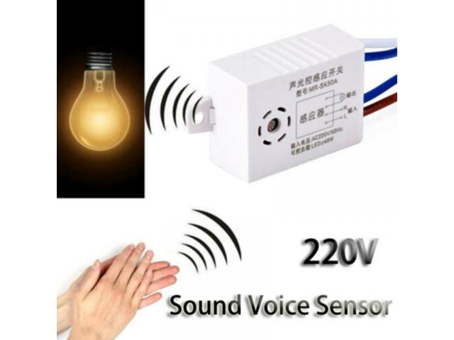 Interruptor de lampada Sensor de Som e Luz Por Voz e Palmas - 1/4