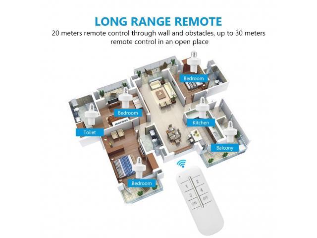 Soquete Wi-fi Para lampada Sem Fio Control Por Controle Remoto - 5/6
