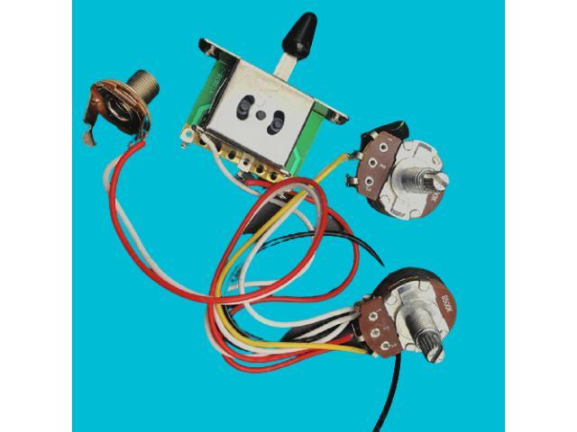 Kit Elétrica P/ Guitarra Telecaster Reparo Chave 3 Posições 1 Volume 1 Tone 500k - 3/6