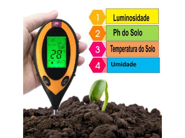 Medidor PH Solo Umidade Luz Termômetro - Digital 4x1 Jardinagem Plantas - 1/3