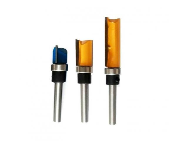 """Fresa Refiladora com Rolamento Haste 1/4"""" - Jogo com 14mm, 20mm, 38mm - 1/2"""