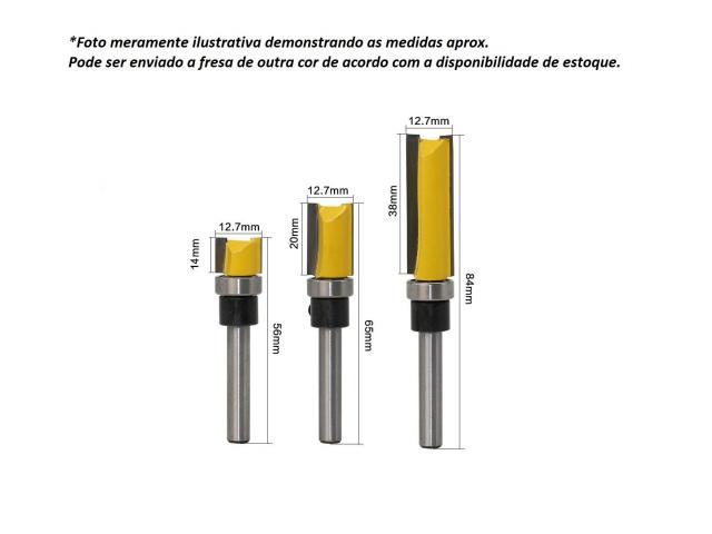 """Fresa Refiladora com Rolamento Haste 1/4"""" - Jogo com 14mm, 20mm, 38mm - 2/2"""