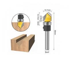 Fresa para Tupia Cabeça Tipo Flecha com Rolamento Haste de 6mm