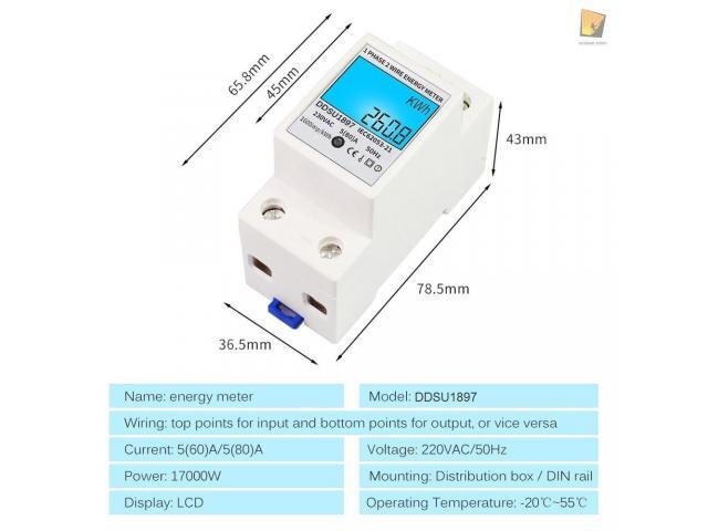 relogio Medidor De Energia Elétrica 220v  Kwh Watimetro Voltimetro Amperimetro Fp - 2/6