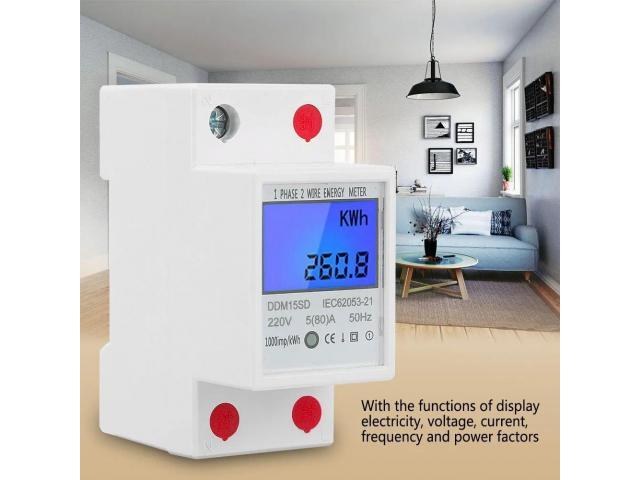 relogio Medidor De Energia Elétrica 220v  Kwh Watimetro Voltimetro Amperimetro Fp - 3/6