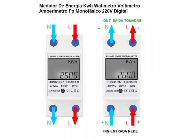 relogio Medidor De Energia Elétrica 220v  Kwh Watimetro Voltimetro Amperimetro Fp - 4/6