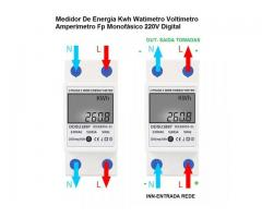 relogio Medidor De Energia Elétrica 220v  Kwh Watimetro Voltimetro Amperimetro Fp - Imagem 4/6