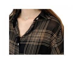 Blusa Camisa Manga 3/4 Xadrez Casual Transparente de Sobrepor