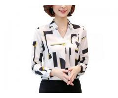 Camisa Camisete Feminina Estampa Geométrica ou Listras Manga Longa Trabalho Escritório