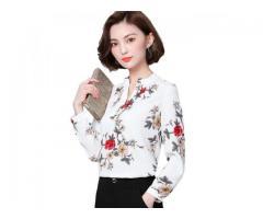 Camisa Camisete Feminina Estampa Floral Manga Longa Trabalho Escritório etc