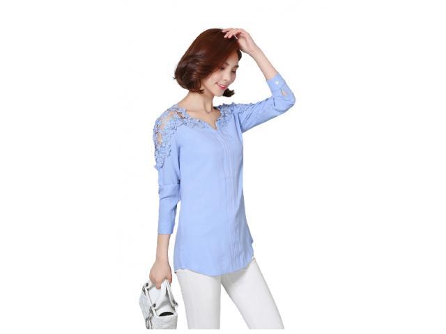 Camisa Bata Feminina Detalhe Guipir Elegante Charme Chic - 1/5
