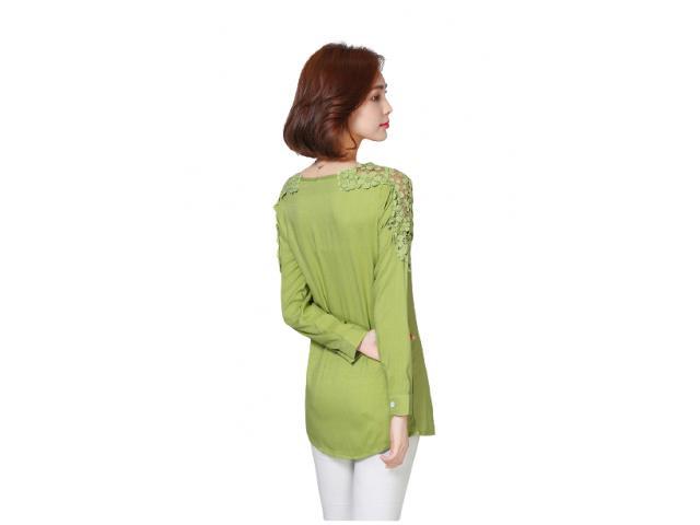 Camisa Bata Feminina Detalhe Guipir Elegante Charme Chic - 4/5
