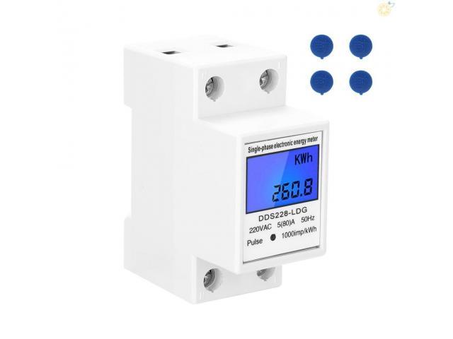 relogio Medidor De Energia Elétrica 220v  Kwh Watimetro Voltimetro Amperimetro Fp - 5/6