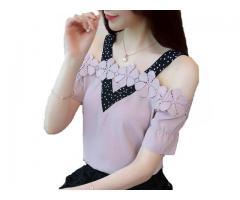Blusa Detalhe Flores Bolinha Poá Elegante Ombro A Ombro