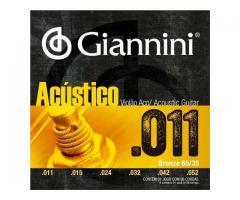 Jogo de Corda Giannini para Violão 0.10 ou 0.11 - Encordoamento para Violão Aço