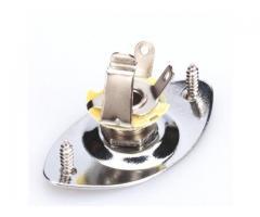 Power Jack + Plate Oval Cromado Para Guitarra Elétrica