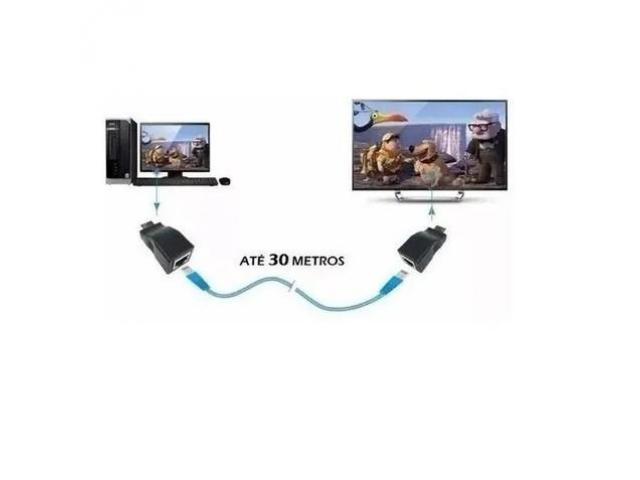Adaptador Hdmi para Rede DVR Tela Extensor Hdmi x Rede até 30 Metros Via Cabo de Rede Rj45 - 1/6