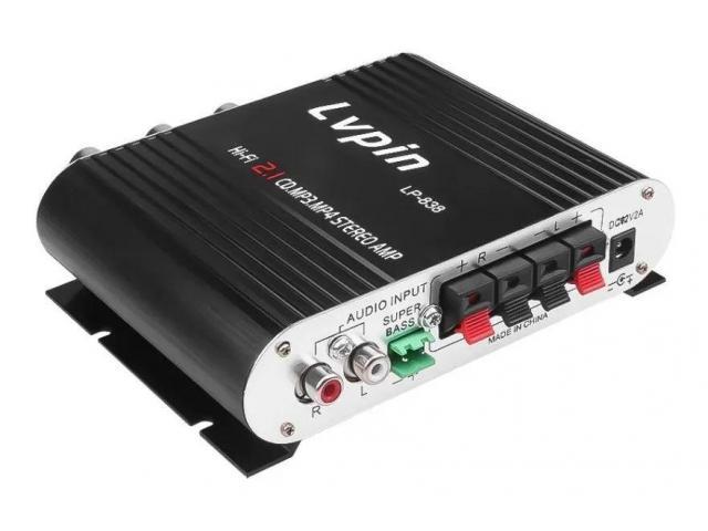 Mini Amplificador 55W  Estéreo 12v Super Bass Hifi Cd Mp3 Mp4 Celular 2.1 Canais - 1/5