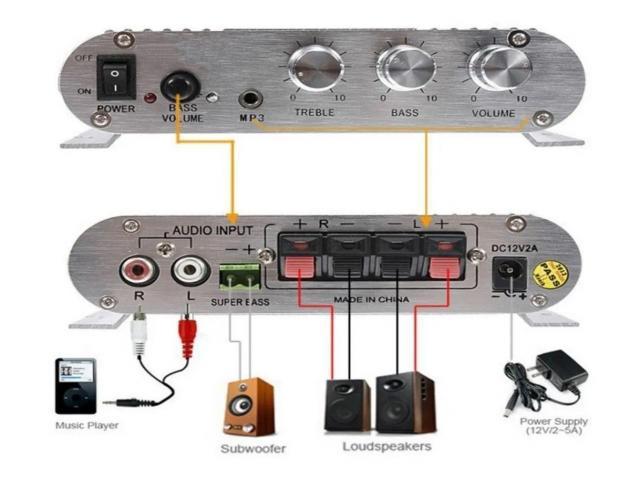 Mini Amplificador 55W  Estéreo 12v Super Bass Hifi Cd Mp3 Mp4 Celular 2.1 Canais - 4/5